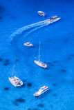 Boats and yachts on the azure sea Stock Photography