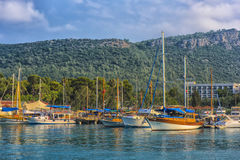 Boats and yachts in the Bay of Kemer Royalty Free Stock Image