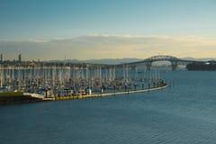 Boats and yachts docked in marina Stock Image