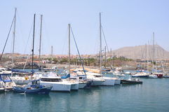 Boats and yachts in fishing harbor in Las Galletas on Tenerife Royalty Free Stock Image