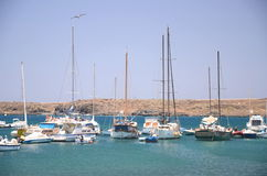 Boats and yachts in fishing harbor in Las Galletas on Tenerife Stock Images