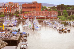 Boats and yachts by Granville island. Stock Photo