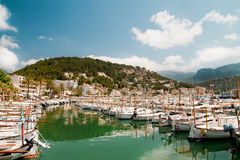 Boats and Yachts in harbor Royalty Free Stock Photos