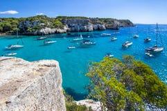 Boats and yachts on Macarella beach, Menorca, Spain Royalty Free Stock Photos
