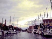 Boats and yachts in the marina royalty free stock photos
