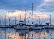 Boats and yachts moored in harbor Royalty Free Stock Photo