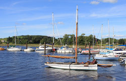 Boats and yachts moored in Kirkcudbright marina. Royalty Free Stock Images