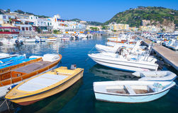 Boats and yachts moored in Lacco Ameno port Royalty Free Stock Images