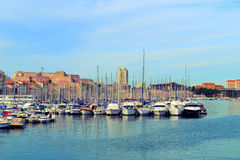 Boats and yachts in the port Royalty Free Stock Photography