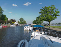Boats and Yachts Moored at Saint-Anne-de-Bellevue Canal Royalty Free Stock Photography