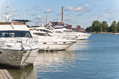 Boats and yachts at a mooring. Helsinki. Boats and yachts at a mooring Royalty Free Stock Photos