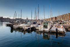 Boats and Yachts in the Old Port of Marseille Stock Photo