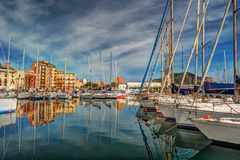 Boats and yachts parked in La Cala bay, old port in Palermo Stock Image