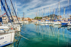 Boats and yachts parked in La Cala bay, old port in Palermo Stock Photos