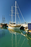Boats and yachts in the port Stock Images