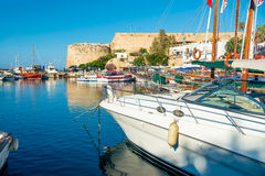 Boats and yachts in a port of Kyrenia (Girne), Cyprus Stock Photos
