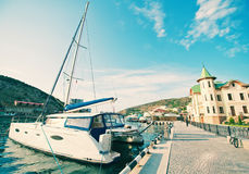 Boats and yachts in port Royalty Free Stock Photos