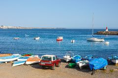 Boats and Yachts in Rubicon Marina, Lanzarote, Canary Islands, Spain. Playa Blanca, Lanzarote, 03 April, 2017: Boats and Yachts in Rubicon Marina, Lanzarote royalty free stock image