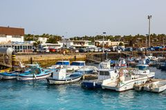 Boats and Yachts in Rubicon Marina, Lanzarote, Canary Islands, Spain. Playa Blanca, Lanzarote, 01 April, 2017: Boats and Yachts in Rubicon Marina, Lanzarote stock photography