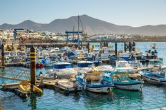 Boats and Yachts in Rubicon Marina, Lanzarote, Canary Islands, Spain. Playa Blanca, Lanzarote, 29 March, 2017: Boats and Yachts in Rubicon Marina, Lanzarote stock photo