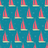 Boats, yachts on the sea on a cruise. Seamless pattern. Stock Image
