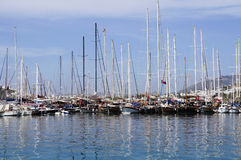 Boats and yachts at sea port in Bodrum Stock Photography
