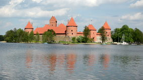 Boats yachts water bicicles in galve lake near trakai castle. N stock video footage