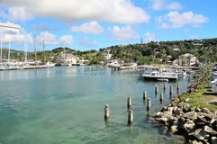 Boats and yahts docked - December 4, 2016 - boast and yachts docked at a Marina on the island of Antigua Royalty Free Stock Image