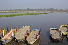 Boats on Yamuna Stock Image