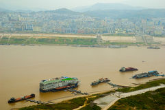 Boats at Yangtze river Stock Photo