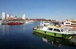 BOATS AT YOKOHAMA PORT, JAPAN. Some boats moored at the Yokohama Port area in Japan Stock Photo