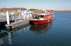 BOATS AT YOKOHAMA PORT, JAPAN. Some boats moored at the Yokohama Port area in Japan Stock Image