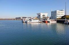BOATS AT YOKOHAMA PORT, JAPAN. Some boats moored at the Yokohama Port area in Japan Royalty Free Stock Image