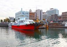 BOATS AT YOKOHAMA PORT, JAPAN. Some boats moored at the Yokohama Port area in Japan royalty free stock photos