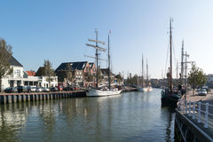 Boats in Zuiderhaven in old town of Harlingen, Netherlands Stock Images