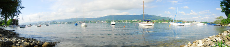 Boats on the Zurich Lake royalty free stock photography