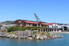 Boatshed e as construções do clube de enfileiramento, Wellington fotografia de stock royalty free
