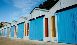Boatsheds, brightly coloured. Stock Image
