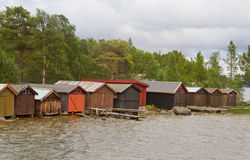 Boatsheds in Norway Stock Photography