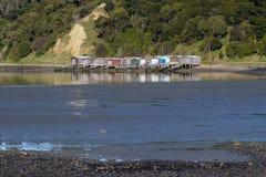 Boatsheds przy Akaroa Zdjęcie Stock