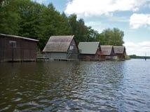 Boatshouses stockfotografie