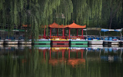 BoatsPurple Bamboo Park Beijing China Royalty Free Stock Photography