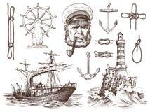 Boatswain med röret Fyr- och havskapten, marin- sjöman, nautiskt lopp med skeppet inristad hand dragen tappning royaltyfri illustrationer