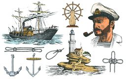 Boatswain with pipe. Lighthouse and sea captain, marine sailor, nautical travel by ship. engraved hand drawn vintage. Style. summer adventure. Seagoing vessel Royalty Free Stock Photo