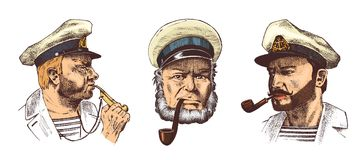 Boatswain with pipe. Portrait of a sea captain, Marine old sailor or bluejacket, whistle and seaman with beard or men. Boatswain with pipe. sea captain, marine Stock Photo