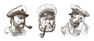 Boatswain with pipe. Portrait of a sea captain, Marine old sailor or bluejacket, whistle and seaman with beard or men. Boatswain with pipe. sea captain, marine Stock Photography