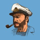 Boatswain with pipe. sea captain, marine old sailor or bluejacket, seaman with beard or men seafarer. travel by ship or. Boat. engraved hand drawn in old boho Stock Image