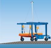 Boatyard Gantry Crane Stock Images