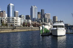 Boatyard på Seattle strand royaltyfri foto