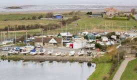 Boatyard på stigande, Somerset Royaltyfri Fotografi